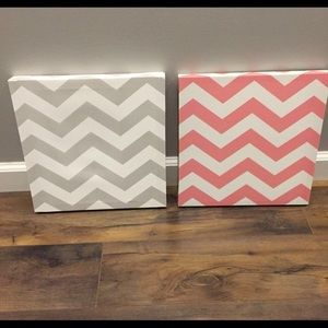 Grey and pink chevron canvases- Cute for nursery